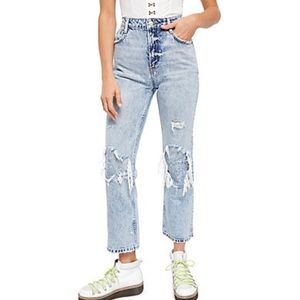 Free people acid wash ripped denim jeans